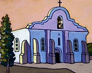 Adobe Building Pastels Posters - Colorful San Elizario Poster by Candy Mayer