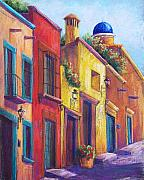 Landscapes Pastels Posters - Colorful San Miguel Poster by Candy Mayer