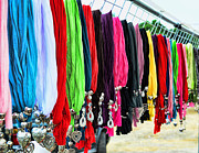 Flea Market Photos - Colorful Scarfs by Paul Ward