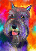 Cute Mixed Media Metal Prints - Colorful Schnauzer dog portrait print Metal Print by Svetlana Novikova