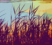 Seashore Digital Art Metal Prints - Colorful Seagrass Metal Print by Michelle Wiarda