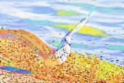 Seagull Mixed Media Metal Prints - Colorful Seagull Metal Print by Deborah Benoit