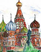 Moscow Painting Posters - Colorful Shapes in a Red Square Poster by Marsha Elliott