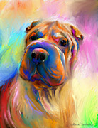 Custom Pet Portrait Prints - Colorful Shar Pei Dog portrait painting  Print by Svetlana Novikova