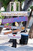 Cayman Prints - Colorful Signs at Rum Point Grand Cayman Island Print by George Oze