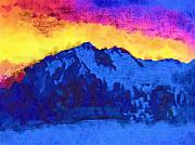 Yellows Digital Art Prints - Colorful Sky Over Mountains Print by Deborah MacQuarrie