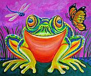 Whimsical Frogs Posters - Colorful Smiling frog-VooDoo Frog Poster by Nick Gustafson