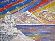 Lots Of Snow Prints - Colorful Snow Print by Phyllis Kaltenbach
