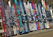 Susan Leggett Prints - Colorful Snow Skis Print by Susan Leggett