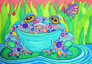 Colorful Animals Drawings Framed Prints - Colorful Spotted Frog Framed Print by Nick Gustafson