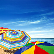 Umbrella Prints - Colorful Sunshades Print by Carlos Caetano