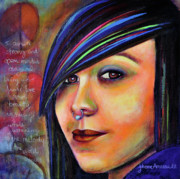 Teen Graffiti Mixed Media - Colorful Teen an Artistic Representation of a Colorful Daughter by Johane Amirault