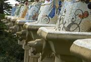 Parc Guell Prints - Colorful Tiles And Animal Heads Print by Stephen Sharnoff
