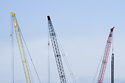 Tower Crane Posters - Colorful Tower Cranes Poster by Jeremy Woodhouse
