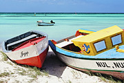 Antilles Prints - Colorful Traditional Fishing Boats Print by George Oze