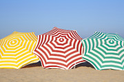 Life In Space Prints - Colorful Umbrellas On Beach Print by Leila Mendez