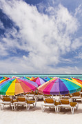 Multi-coloured Framed Prints - Colorful Umbrellas On The  Beach Framed Print by Bryan Mullennix