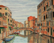 Canal Painting Originals - Colorful Venice by Charlotte Blanchard