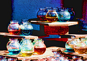 Fish Bowls Photos - Colorful Water Bowls by Anne Ferguson