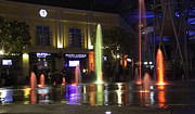Colorful Water Jets At Clarke Quay In Singapore Print by Ashish Agarwal