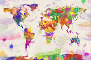 Watercolor Map Prints - Colorful Watercolor World Map Print by Zaira Dzhaubaeva