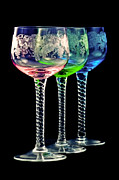 Blue Color Prints - Colorful wine glasses Print by Gert Lavsen