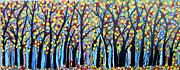 Trees Paintings - Colorful Woodland by Suzeee Creates