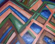 Abstract Art Reliefs Prints - Colors and Lines Print by Clara Spencer