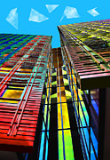 Bright Colors Art - Colors in the City with clouds by Jasna Buncic