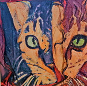 Photo Manipulation Painting Posters - Colors of a Cat Poster by Ruth Edward Anderson