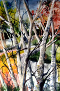 Autumn Trees Drawings Prints - Colors of a Prayer Print by Mindy Newman