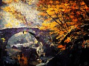 Yellow Bridge Digital Art Posters - Colors of Autumn Poster by Gun Legler