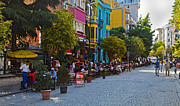 Outdoor Cafes Posters - Colors of Istanbul Street Life Poster by Kantilal Patel