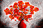 Red Flowers Painting Metal Prints - Colors of Love Metal Print by Leon Zernitsky
