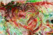 Abstract Hearts Digital Art - Colors of Love by Linda Sannuti