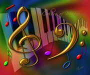 Clef Prints - Colors of Music Print by Judi Quelland