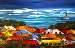 Caribbean Painting Originals - Colors of St Martin by Patti Schermerhorn