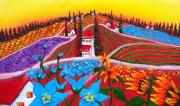 Wineries Painting Prints - Colors Of Tuscany 5 Print by James Dunbar