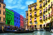 Gondola Digital Art Prints - Colors of Venice Print by Jeff Kolker