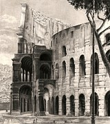 Ancient Rome Drawings - Colosseo by Norman Bean