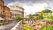 Archeology Paintings - Colosseo Romano by Jose Luis Vertiz
