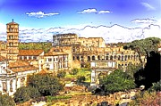 Panorama Mixed Media - Colosseum and roman forum by Stefano Senise