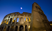 Photographs Digital Art - Colosseum and the Moon by Rome