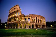 Recreational Structures Prints - Colosseum At Night, Rome, Italy Print by Richard Nowitz