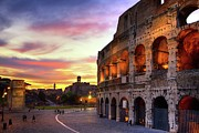 Travel Destinations Photo Framed Prints - Colosseum At Sunset Framed Print by Christopher Chan