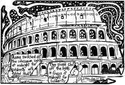 Maze Cartoon Framed Prints - Colosseum Blackout for Gilad Shalit Maze Cartoon by Yonatan Frimer Framed Print by Yonatan Frimer Maze Artist