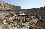 Sites Tapestries Textiles Prints - Colosseum. Rome Print by Bernard Jaubert