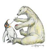 Penguin Drawings Framed Prints - Colour Bear Framed Print by Mark Johnson