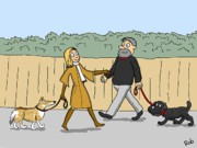 Dog Walking Digital Art Posters - Colour Co-ordination Poster by Robert Middleton