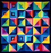 Art Quilt Tapestries - Textiles Prints - Colour Play Quilt Print by Carola Ann-Margret Forsberg